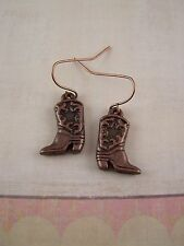 Cowboy Boot Copper Earrings, Cowgirl Country Western Wear Women's Jewelry