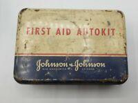 1960's Johnson & Johnson First Aid Auto Kit Vintage Metal Tin Advertising