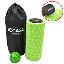 2 in 1 Foam Roller Exercise Trigger Point Grid Physio Massage Ball Green DCUK