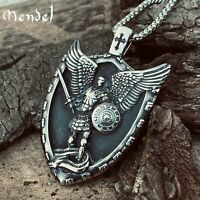 MENDEL Mens Christian Shield Cross Archangel Angel Michael Pendant Necklace Men