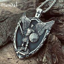 MENDEL Mens Christian Shield Cross Archangel Angel Michael Pendant Necklace Men