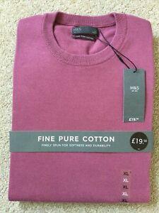 "M&S Mens Fine Pure Cotton Jumper XL Raspberry Pink Crew Neck Chest 44-46"""