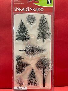 """Inkadinkado I6031297 Clear Stamps 4""""X8""""-Woodland Wonderland Pine Trees Christmas"""