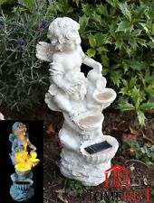 Solar Garden Patio Cherub Fairy Garden statue Ornament Flowing Water Effect
