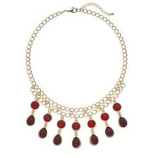 Red Cabochon Fringe Necklace with Tear Cabochon Drops $24.00