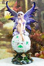 Lavender Fairy Sitting On Filigree Gyrosphere Orb Ball Led Night Light Statue