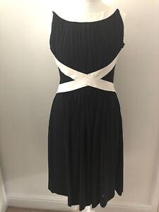 Coast Black & White Sleeveless Dress Size 12 Fit & Flare Pleated Party Evening