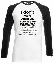 I Don't Run Men's Baseball Shirt - Long Sleeve Funny Exercise Lazy Slogan