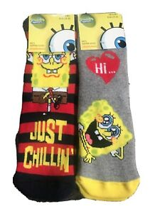 Boys Spongebob Slipper Socks2x1 2pairs 9-12