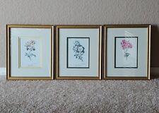 """VINTAGE SET OF 3 BOTANICAL FLOWER ART PRINTS """"COVAL GUEST '91"""" - FRAMED & MATTED"""