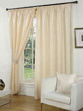Faux Silk Fully Lined Pencil Pleat Curtain Pairs + Free Tiebacks