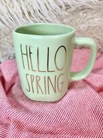 "NEW Rae Dunn ""HELLO SPRING"" LL Ceramic Mug Light Green W/ Gold Letters 2021 VHTF"