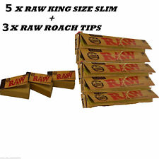 Genuine RAW Rolling Papers King Size Slim Classic Unrefined Skin+ RAW TIPS FREE*