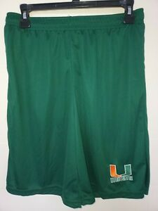 0724 Mens MIAMI HURRICANES Polyester Jersey SHORTS Embroidered GREEN New