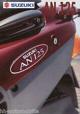 Prospekt Suzuki AN 125 90er J. Motorradprospekt brochure Motorroller broschyr