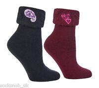 2 Pairs of Ladies warm fluffy luxury bed socks, Navy / burgundy 4-8 uk, 37-42 eu