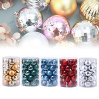 34Pcs 40MM Christmas Tree Hanging Glitter Balls Baubles Xmas Ornament Decors