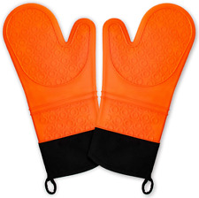 Silicone Non Slip Heat Resistant Waterproof Oven Mitts Set Cooking Gloves Orange