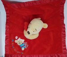 Doudou Winnie DISNEYLAND Plat couverture Rouge Orange My First Christmas Cadeau