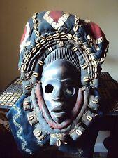 "SALE - WAS $289  22"" Long DAN Headdress Mask African Carving Cowrie Horns!!"
