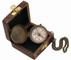 Brass Nautical Pocket Compass w/Wood Case Vintage compass birthday Day Gift