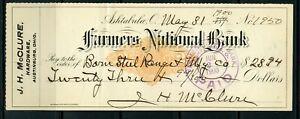 US FARMERS NATIONAL BANK OF ASHTABULA, OHIO CANCELLED CHECK 5/31/1900