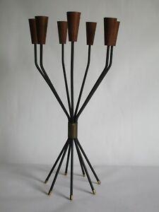 Teak candleholder 7 candles 7-armiger Kerzenleuchter Midcentury String Denmark