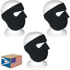 3 LOT FULL FACE HEAD MASK Solid Black NEOPRENE REVERSIBLE HAT MOTORCYCLE CAP!