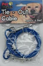"""BLUE """"Tie Out Cable"""" 6 feet long cable-Dog/Puppy/Cat/Kitten/Rabbit/Gift/Walk/Run"""
