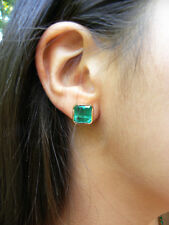 7.24ct Huge Bright Green Square Natural Colombian Emerald Stud Earrings 18k Gold