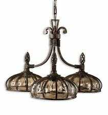 """28"""" Antique Style DOMED Blown Glass Chandelier IRON Traditional Classic Unique"""
