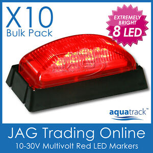 10 x 8-LED RED MARKER LIGHTS BLACK HOUSINGS- Boat/Trailer/Truck Clearance Lamps