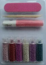 6 bottiglie microperle + colla + lima nail art
