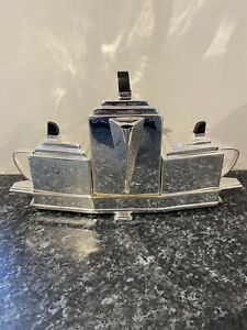 Silver Plated Art Deco Style Tea Set on Fitted Tray Stamped Hallmark