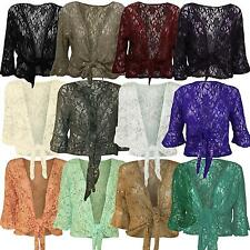 Womens Floral Lace Sequin Bolero Shrug ¾ Sleeve Plus Size Tie Up Cardigan 12-26