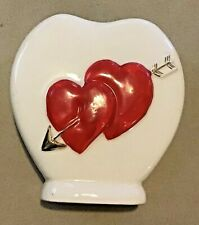 Vtg White Heart Shaped Valentine Vase Ceramic Pottery Planter Red Hearts Arrows