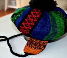 VTG WOOL TAM HAT w/ Ear Flaps & Tassels GIRLS Pom Pom Madawaska Weavers EUC L30