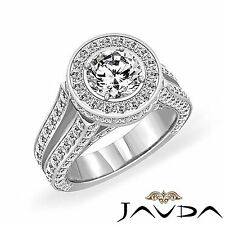 3.96ct Round Diamond Split Shank Engagement Ring GIA F Color VS2 14k White Gold