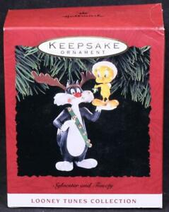 "1993 Hallmark ""Sylvester & Tweety"" Looney Tunes Handcrafted Christmas Ornament"