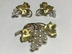 Vintage Signed Krementz Gold Overlay Grape Vine Pearl Brooch & matching earrings