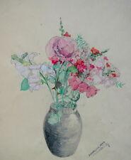 Aquarelle Joli BOuquet Printanier Fleurs vers 1950