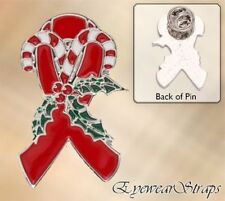 NUOVO Natale RED RIBBON NASTRO DI BENEFICENZA consapevolezza Spilla sangue HIV AIDS