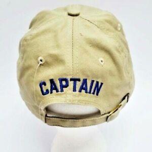 Baseball Cap ~ Nautical Captain / Anchor Embroidered Design  Adjustable / Tan