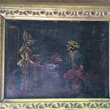"Antique 18th /19th Century Oil On Board Inn Scene ""A Dutch Courtship"" Signed RES"