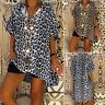 Vintage Femme Demi Manche Imprimé Leopard Asymétrique Ample T-shirt Tops Plus