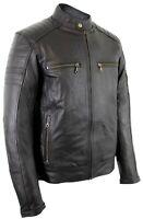 Motorrad Biker Jacke Lederjacke schwarz mit Protektoren aus echtem Leder