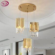 Silver/Gold Modern Crystal Chandelier For Dining Room Light Polished Steel Lamp