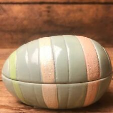 Light Blue & Pastels Striped Glitter Easter Egg Trinket Box