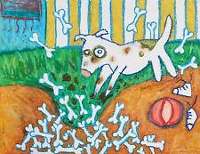 Pitbull Stash 8x10 Folk Art Print American Pit Bull Terrier Animal Collectible