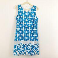 J. Mclaughlin Blue Floral Shift Dress Size 8 Mesh Sleeveless Lined Cotton Blend